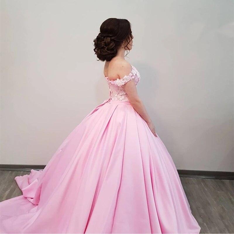 Привлекательное атласное розовое милое бальное платье с вырезом на плечах, 3D цветочное свадебное платье из лифа с кружевной аппликацией
