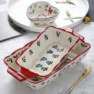 Wiśnia płyta do pieczenia ceramiczny ser płyta do pieczenia prostokątny piekarnik zachodni zestaw stołowy warzywny pieczona miska do ryżu taca na chleb CL12