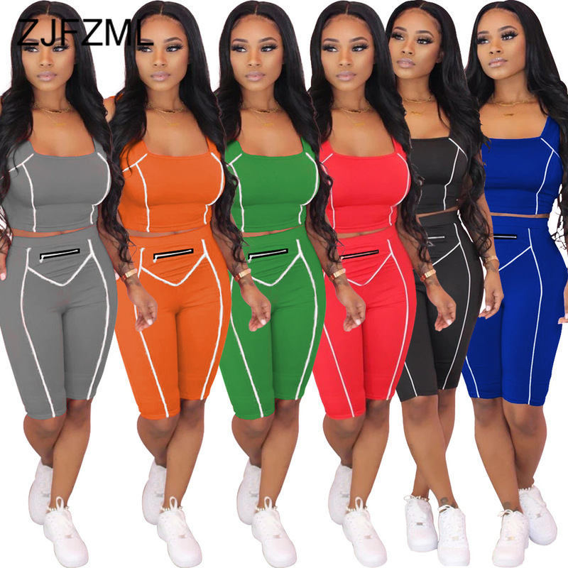 White Striped Spliced Two Piece Set Women Festival Clothing Square Collar Sleeveless Crop Top And Skinny Short Sporty Tracksuit