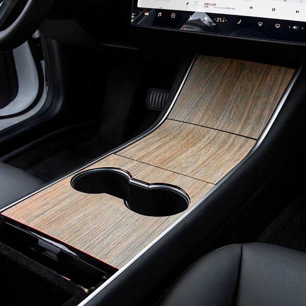 Car Central Control Panel Sticker For Tesla Model 3 Accessories Interior Style Auto Protective Film Carbon Fiber Wood Grain New