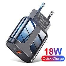 Ładowarka USB 3A szybkie ładowanie 18W ładowarka do telefonu komórkowego dla iPhone 11 8 ue/usa wtyczka podróżna ładowarka ścienna do Huawei Samsung Xiaomi