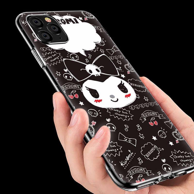 Sıcak sevimli karikatür Kuromi yumuşak silikon şeffaf kılıf Apple iPhone 11 Pro XS Max X XR 6 6s 7 8 artı 5 5s SE moda kapak