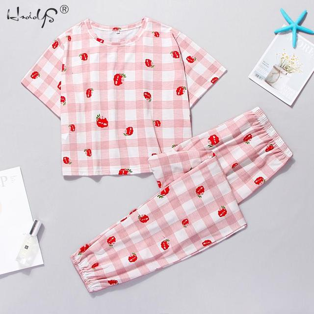 Cute Pajama Set With Short Sleeve Tee and Long Pants 3