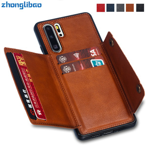 Fundas Hawei P40 P30 Pro Card Holders Wallet Case for Huawei P30 Pro Mate 20 P20 P30 Lite Leather Card Pocket Back Cover Coque(China)