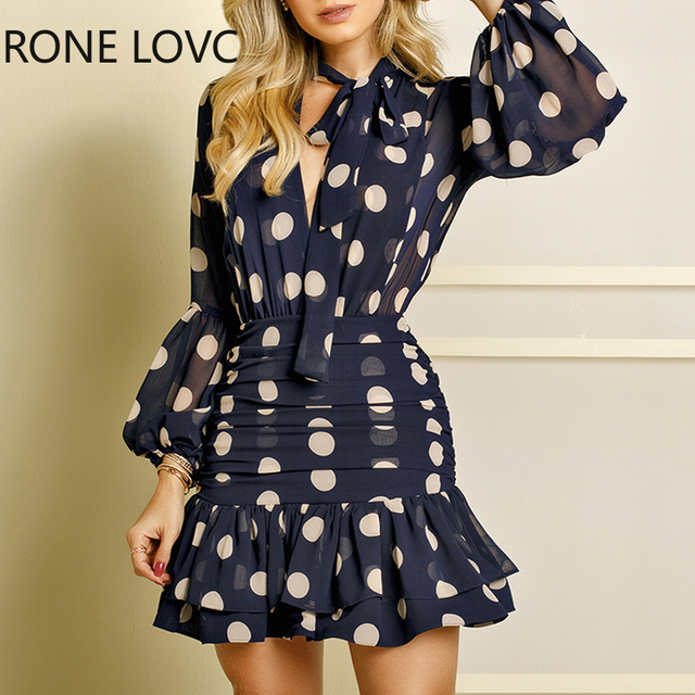 Women Long Sleeves Dot Print Ruffles Mesh Open Back Dress  Elegant Fashion Chic Dress