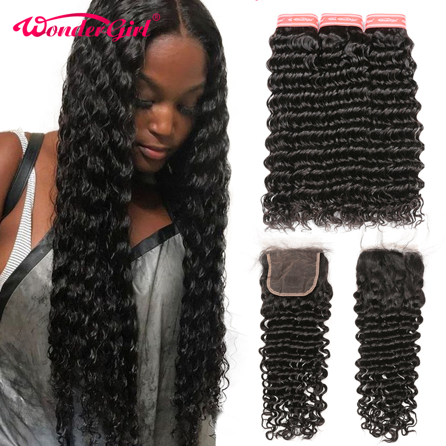 Deep Wave Bundles With Closure Remy Human Hair 3 Bundles With Closure Peruvian Hair Bundles With Closure Wonder Girl No Shedding