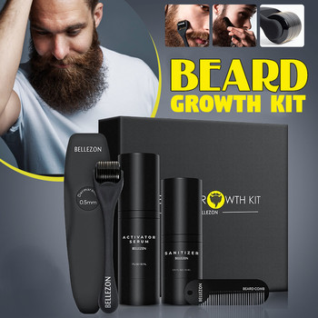 4 Pcs/set Men Beard Growth Kit Hair Growth Enhancer Thicker Oil Nourishing Leave-in Conditioner Beard Grow Set with Comb 1