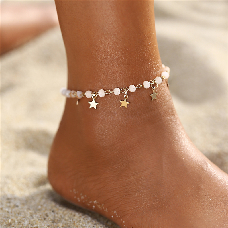 2020 Boho Star Anklets For Woman, Gold Vintage Beads Beach Anklet Bracelet,Leg Foot Bracelet Fashion Jewelry