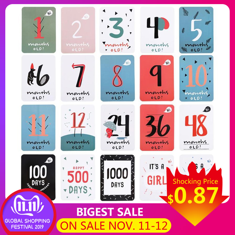 Month Sticker Baby Photography Milestone Memorial Monthly Newborn Kids Commemorative Card Number Photo Props Accessories