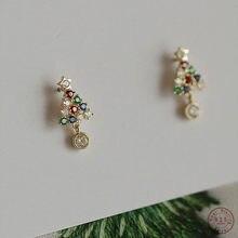 925 argent Sterling Simple arbre de noël boucles d'oreilles femmes Pavé couleur cristaux noël mode bijoux accessoires