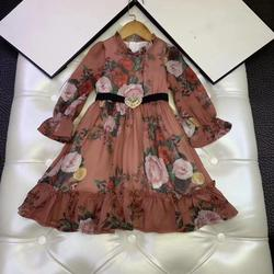 Brand 2020 New Spring Rose floral Printed Long Sleeve sashes Princess party Girls Clothing Girls Dress Boutique 3 4 6 8 10 12Y Y