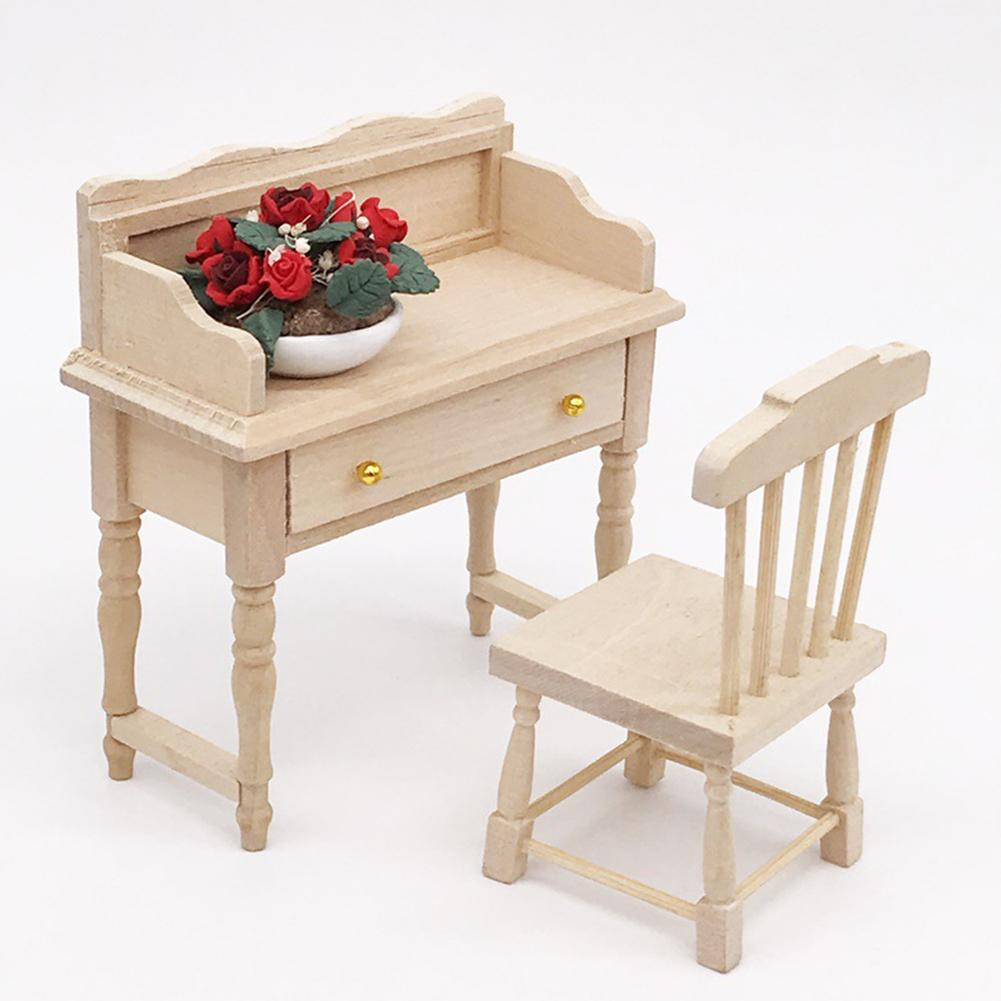 1/12 Unpainted Wooden Mini Desk Table Set Furniture DIY Dollhouse Room Accessory Toys Set For Kids Christmas Gift Dollhouse