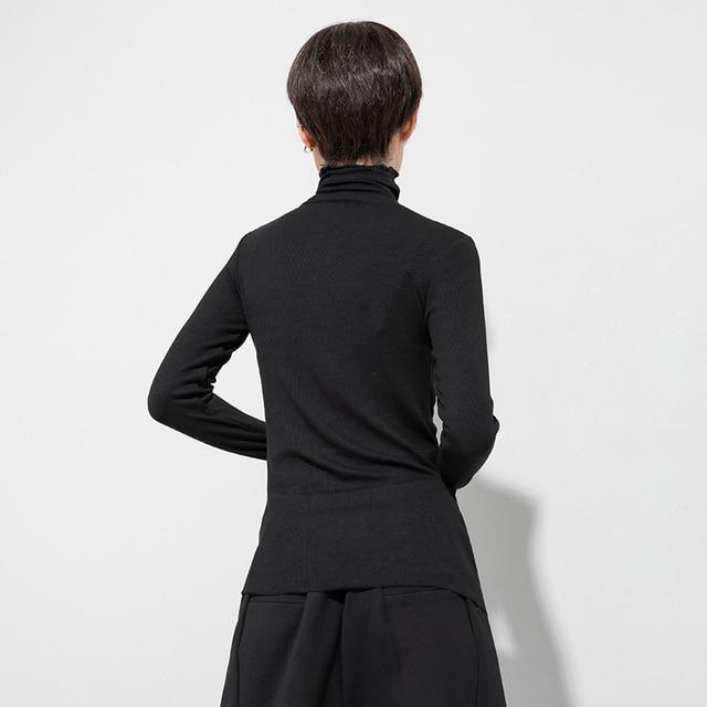 [EAM] Women Black White Line Letter Print Temperament T shirt New Turtleneck Long Sleeve Fashion Spring Autumn 2021 1DD0426|T-Shirts|   -