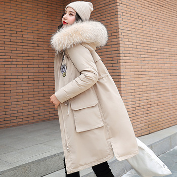 Men/'s Lamb Wool Thicken Long Fur Collar Badge Warm Drawstring Solid Parka Coat