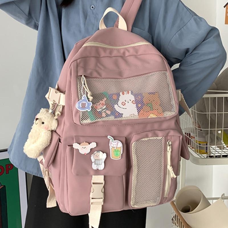 JOYPESSIE Kawaii Nylon Women Backpack Fashion Waterproof Rucksack for Teen Girls School Bag Cute Student Bookbag Travel Mochila