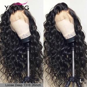 lace front human hair wigs for Black Women deep wave curly hd frontal bob wig brazilian afro short long 30 inch water wig full(China)
