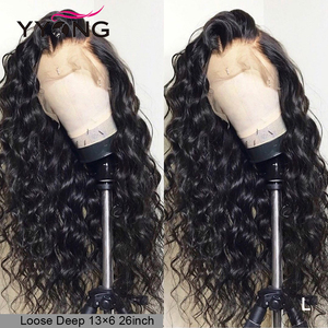 YYong Remy Lace Front Wig 13x6 Wigs Human Hair Lace Frontal Wigs PrePlucked Loose Deep 120 150 Density Malaysian Hair Swiss Lace(China)