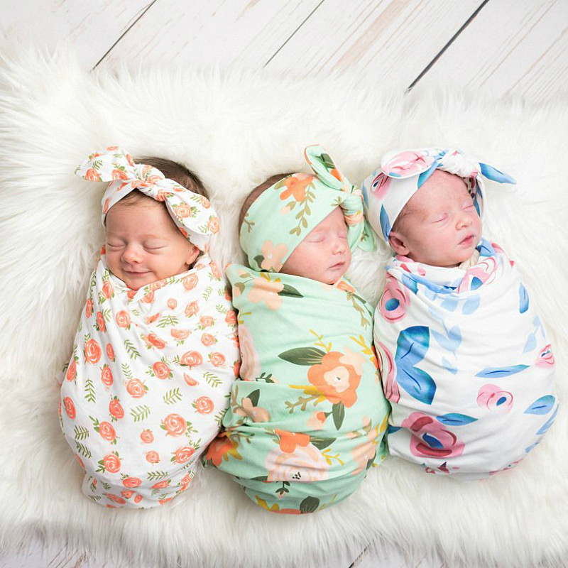 Products For Newborn Muslin Swaddle Wrap +Headband 2pcs Baby Blankets Print Floral Photography Prop For Infant Baby Girl Boys