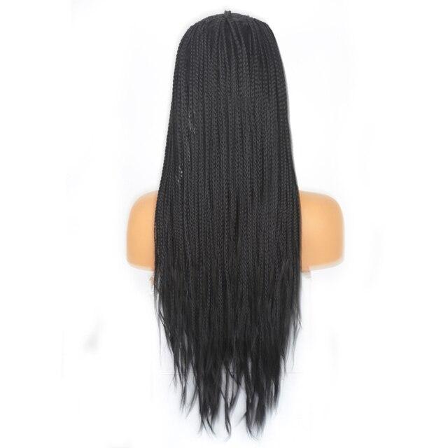 Charyzma 13x6 plecione peruki środkowa część syntetyczna koronka peruka front dla kobiet długie włosy pleciony Box warkocze peruka czarne peruki