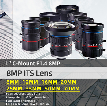 8.0Megapixel ITS Lens 8mm 12mm 16mm 20mm 25mm 35mm 50mm 70mm Fixed Focal Legth Lens Manual Iris For HD Surveillance Camera Lens local focal manual simple beaded handbag