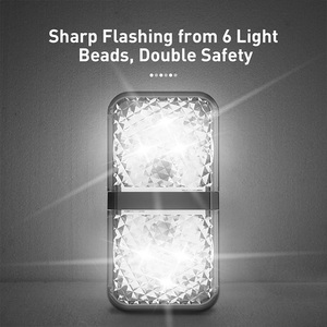 Image 3 - Baseus 2 قطعة 6 المصابيح سيارة فتح الباب تحذير ضوء السلامة المضادة للتصادم أضواء وامضة مصباح إشارة المغناطيسي اللاسلكية