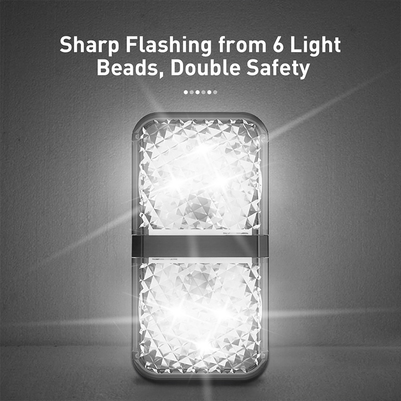 Image 3 - Baseus 2pcs 6 LEDs Car Openning Door Warning Light Safety Anti collision Flash Lights Wireless Magnetic Alarm Signal Lamp-in Decorative Lamp from Automobiles & Motorcycles