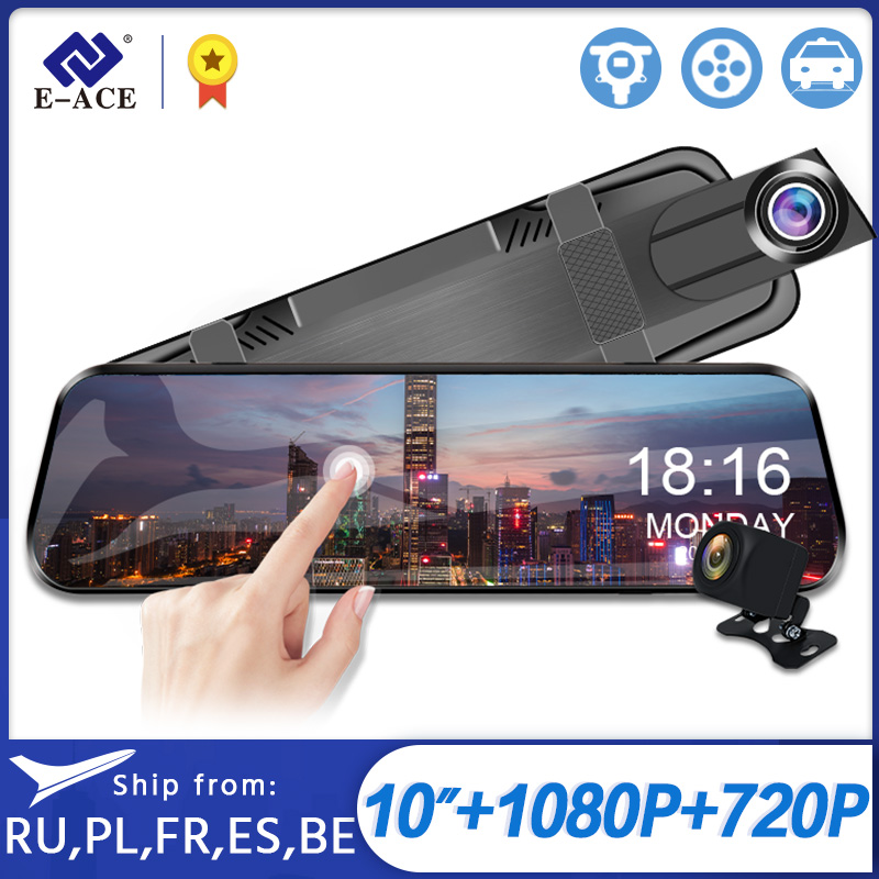 E-ACE Car Dvr 10 Inch Screen FHD 1080P Camera With Stream RearView Mirror Night Vision Video Recorder Registrator Dash Cam Dual(China)