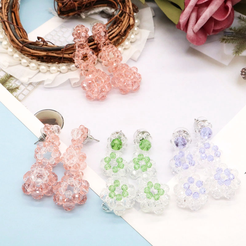 Flower Earrings Long Mixed Colors New Designs Trend Beads Weaving  Creative Hollowout Accessories Free Shipping