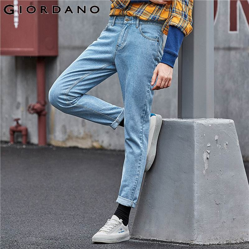 Giordano Men Jeans Washed Five Pocket Denim Pants Mid Waist Tapered Pantalones Jeans Para Hombre Casual 01119071