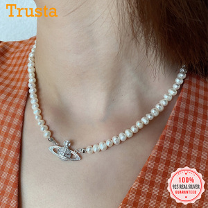 Trustdavis Authentic 925 Sterling Silver Lovely Pearl Planet Pendant Necklace For Women Wedding Birthday S925 Jewelry DS1089