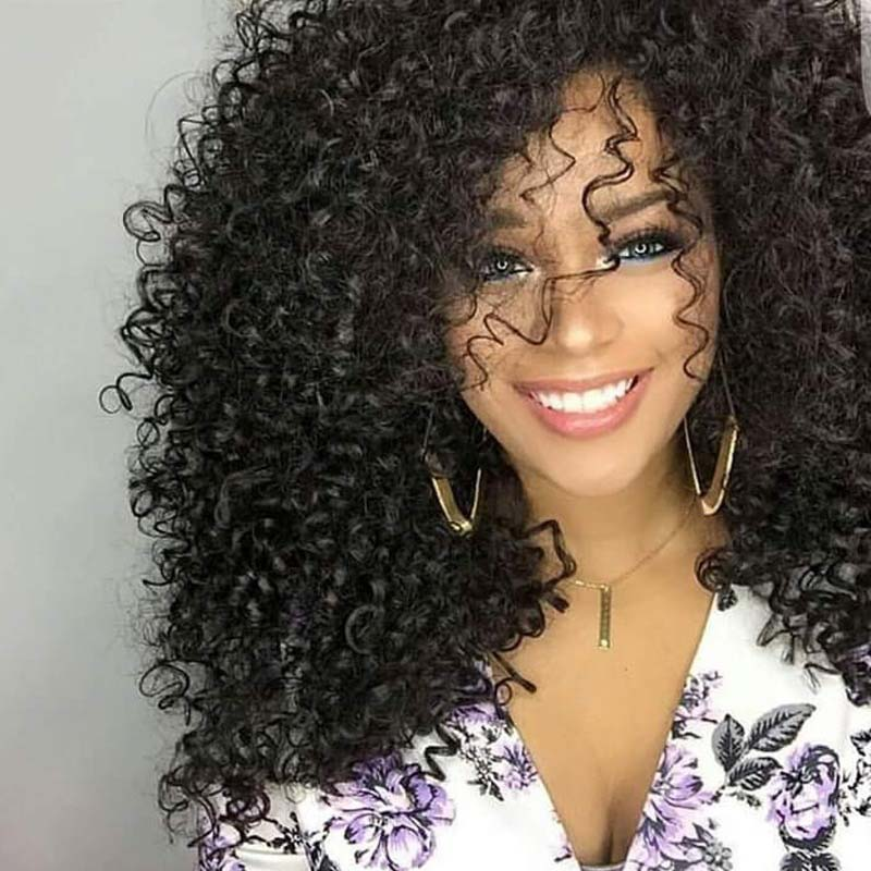 MUMUPI Afro Kinky Curly Wig Synthetic Wigs For Women Black Natural Afro High Temperature Hair 2color Available