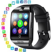Akıllı saat kamera ile Q18 Bluetooth Smartwatch SIM TF kart yuvası fitnes aktivite takip cihazı spor izle Android PK DZ09 saatler