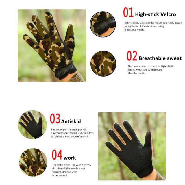 Summer Man Gloves Fishing Tactical Breathable Outdoor Riding Gloves Lady Bicycle Non-slip Gloves Full Finger and Fingless 2