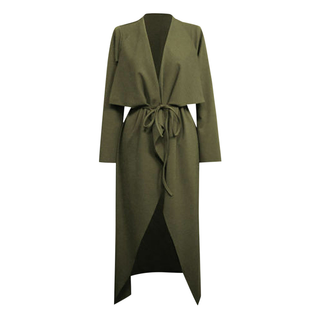 New Womens Ladies Maxi Long Sleeve Belted Waterfall Duster Coat Jacket