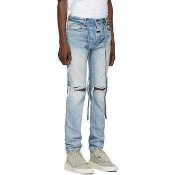 Men Slim Fit Knee Hole Hip Hop Skinny Jeans Fashion Side Zipper Distressed Ripped Stretch Streetwear Denim Trousers hot 2019 fashion casual jeans denim leg zipper hip hop locomotive distressed dance boys biker jeans ripped holes men s trousers