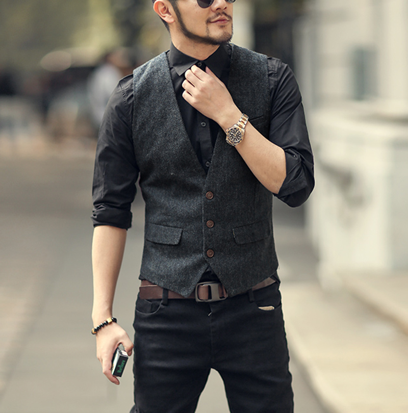 Men Vest Casual Elegant V Neck Tweed Vest Herringbone Fabric Waistcoat For Wedding Groomsmen Black