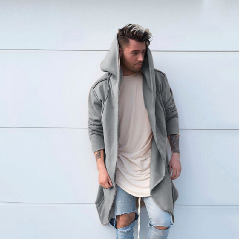 Hf3891be11c864ff4b7b83949b0523384E Vintage Men Autumn Winter Hoodies Jacket Long Cardigan Coat Casual Hip Hop Solid Pocket Jacket Hooded Outwear Veste Homme