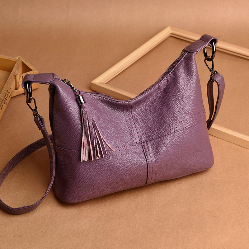 Genuine Leather Luxury Designer Women Top-Handle Shoulder Bags Cowhide Real Leather Female Large Hobo Brand Messenge Handbags