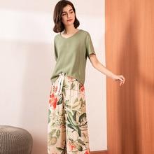 2020 Summer & Spring Floral Printed Ladies Pajamas Set Comfo
