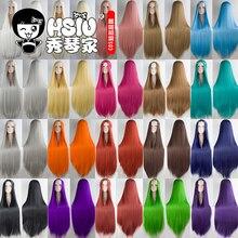 HSIU 100cm uzun peruk yüksek sıcaklık fiber sentetik peruk Cosplay peruk parti peruk 20 renk uzun saç vermek marka peruk net