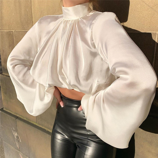 ISAROSE Women Silk Blouses Fashion Short Shirt Turtleneck Long Lantern Sleeve Crop Tops Blouse Office Lady All-Match Clothing 3