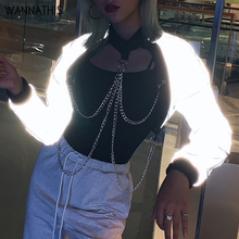 WannaThis Women Streetwear Reflective Cropped Hoodies Patchwork Standard Collar Sweatshirt Necklace Chain Loose Pullover Hoodie