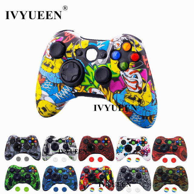 IVYUEEN Water Transfer Printing Protective Skin for Microsoft Xbox 360 Wired / Wireless Controller Silicone Case Cover Caps