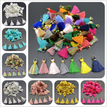 10 pçs poliéster guarnição franja borla costura cortinas acessórios diy chaveiro celular correias pingente borlas para fazer jóias
