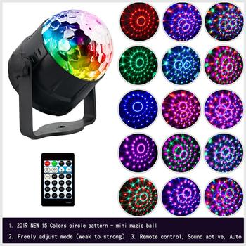 Stage lamp DJ Disco crystal rotating light magic ball for KTV BAR HOME 15 color Voice-activated  party-effect sound music stage lamp dj disco crystal rotating light magic ball for ktv bar home 15 color voice activated party effect sound music
