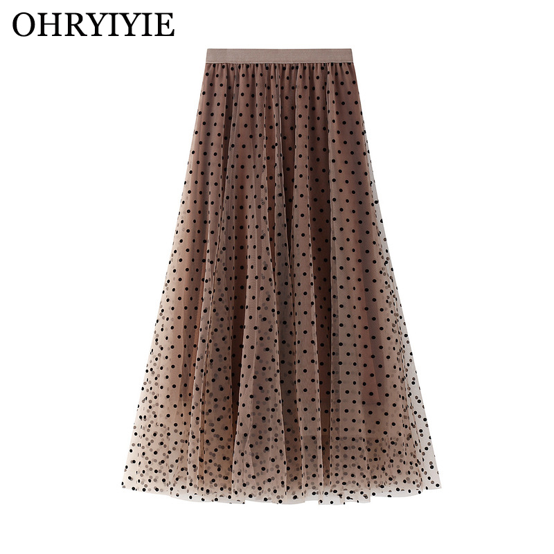 OHRYIYIE Polka Dot Spring Summer Tulle Skirts Women 2020 New Casual Elastic High Waist A-line Skirt Female Party Beach Midi Skit