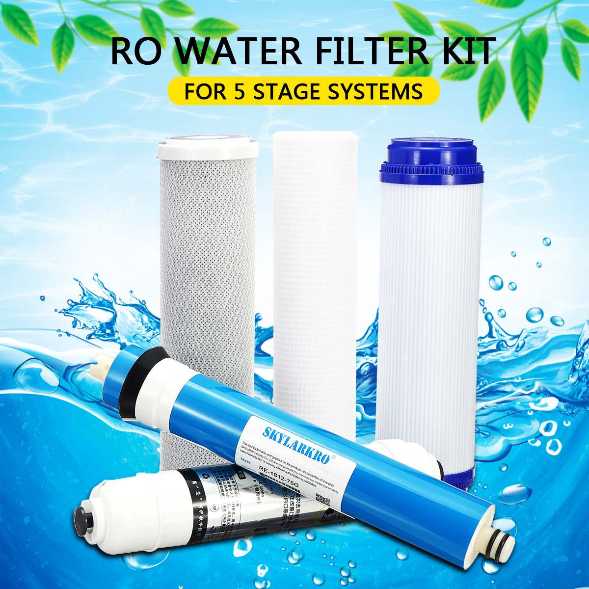 5  Reverse Osmosis Water Filter Cartridge Water Filter Kit With 75 GPD Membrane RO Replacement Household Water Purifier