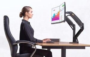 Image 4 - NB F195A In Lega di Alluminio 22 32 pollici Dual LCD LED Monitor di Montaggio Molla A Gas Braccio Pieno di Movimento del Supporto Del Monitor supporto con 2 Porte USB