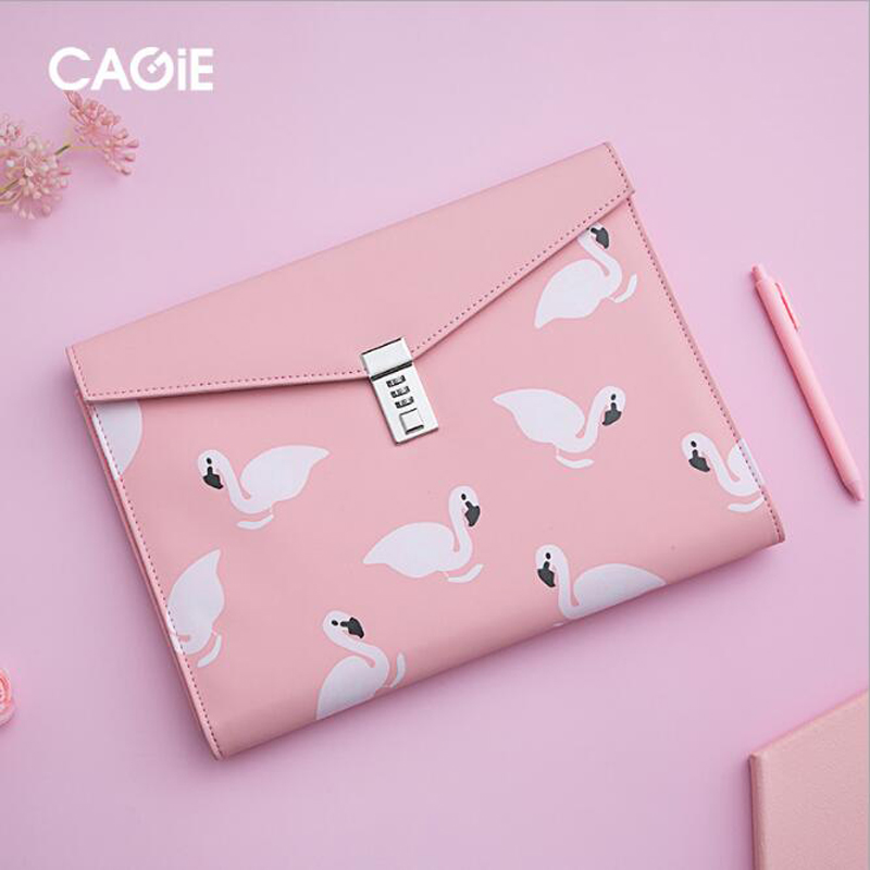 A4 Document File Folder with Password Lock Briefcase Organizer PU Leather Office Manager Bag Ladies Gift