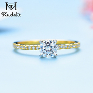 Image 2 - Kuololit Real 10K Yellow gold Natural Moissanite Rings for Women VVS D color Solitaire set ring for anniversary wedding promise
